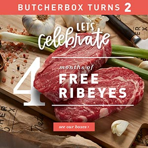 butcher box's 2nd birthday- free Rib Eye Steaks!