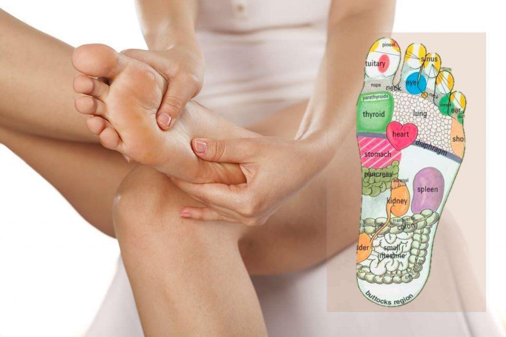 woman massaging reflexes of her foot
