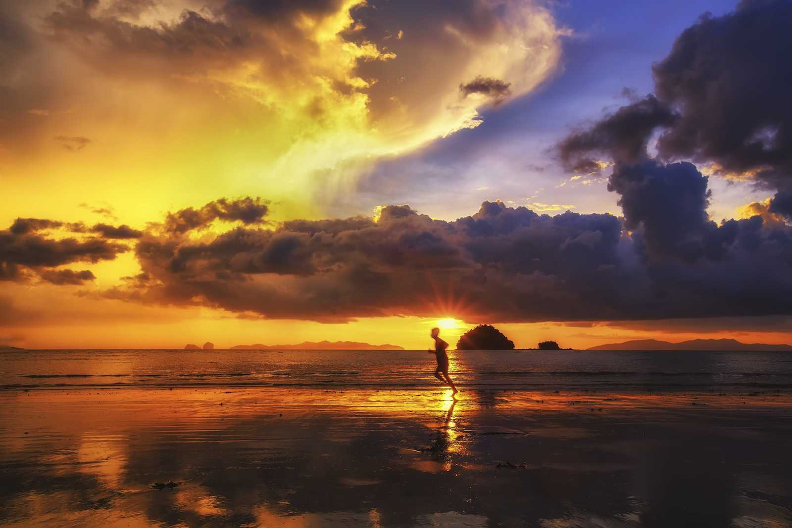 beautiful sunset on beach in thailand