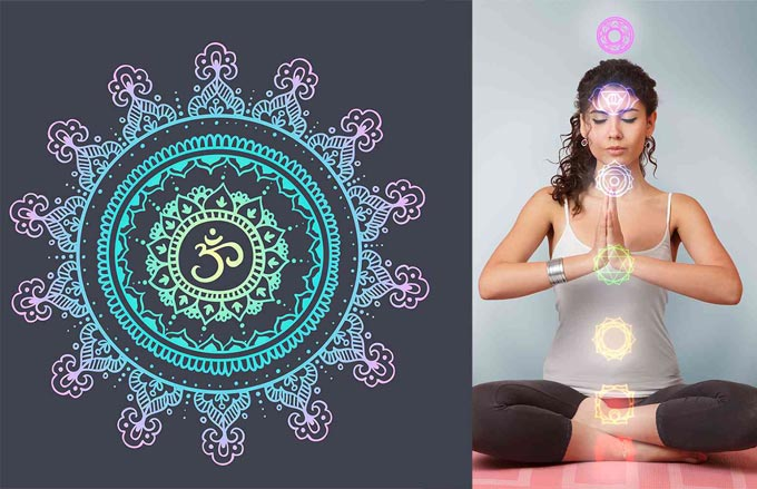 om symbol with woman meditating on chakras