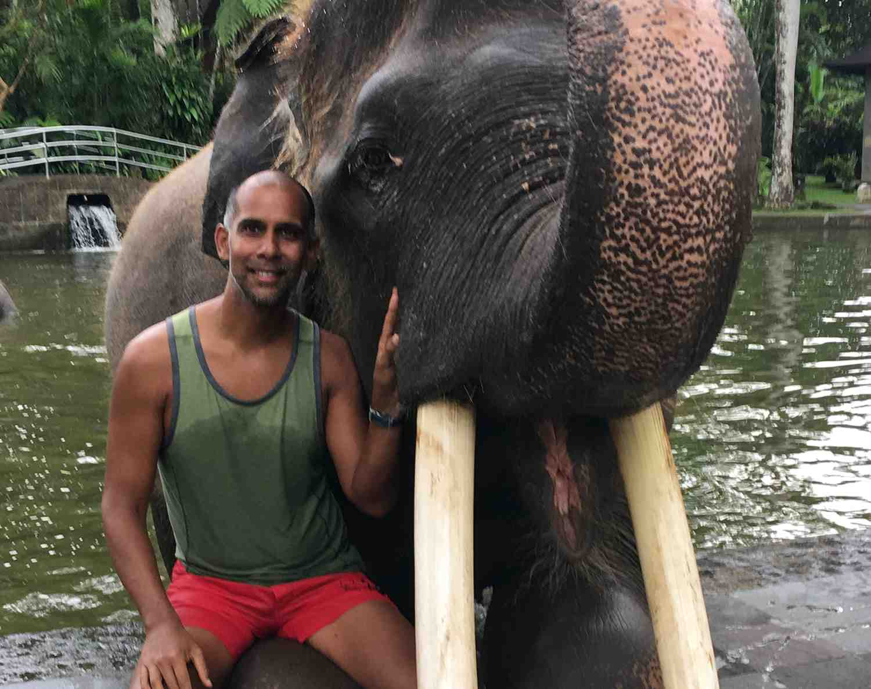 Jaime Tanna with Sumatran Elephant in Ubud, Bali
