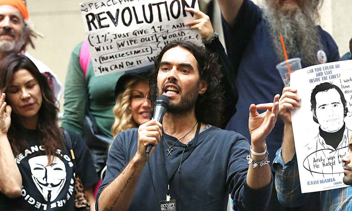 russell brand with occupy wall street activists
