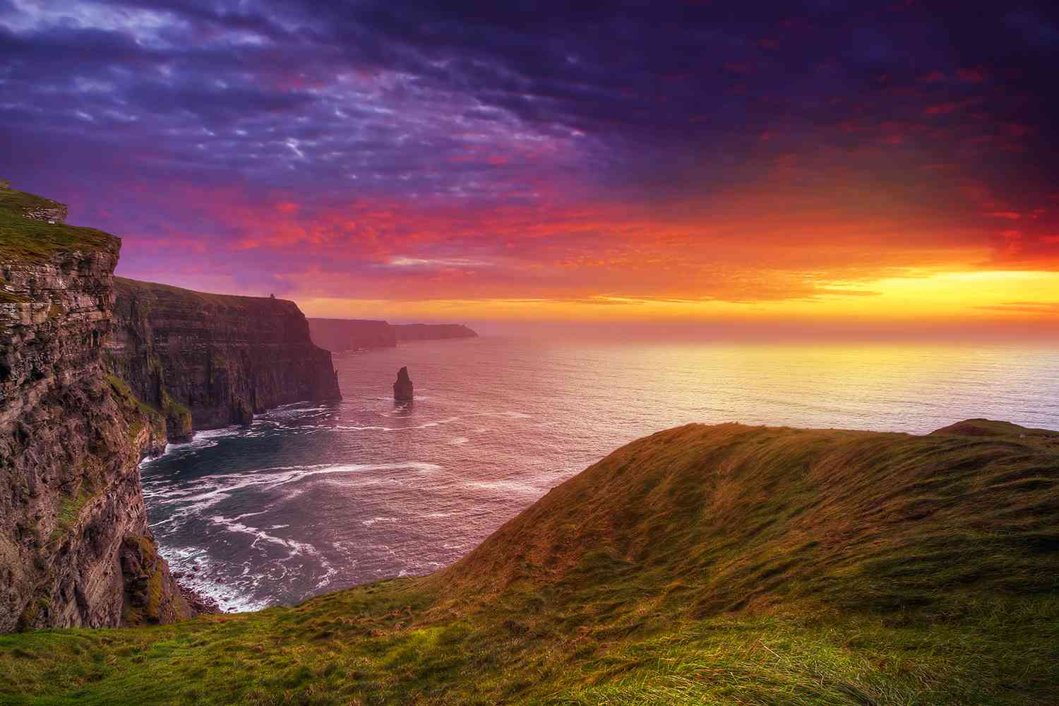 amazing sunet over cliffs