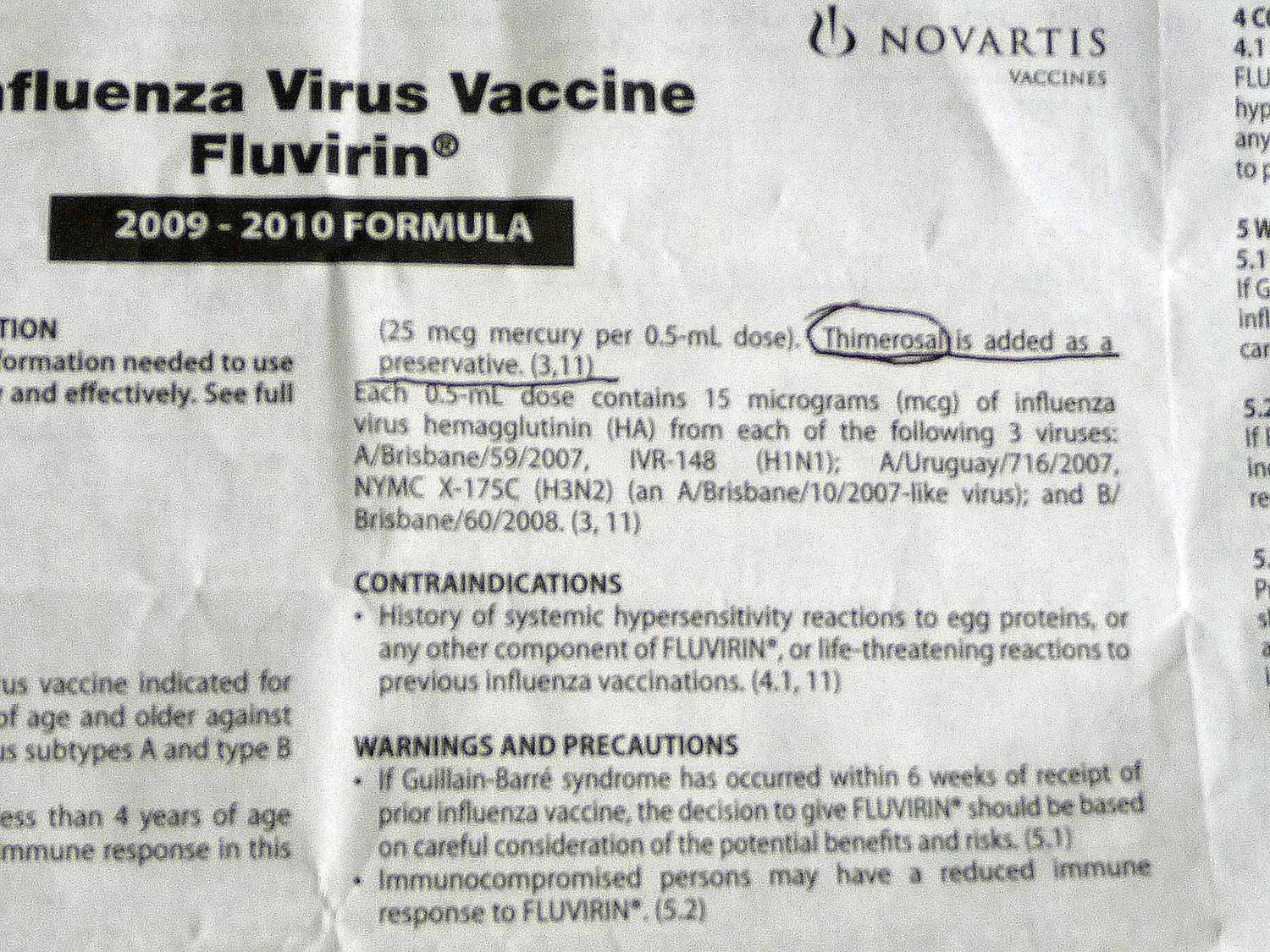list of flu shot ingredients including harmful thimerosal