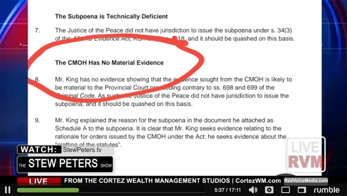The CMOH Has No Material Evidence