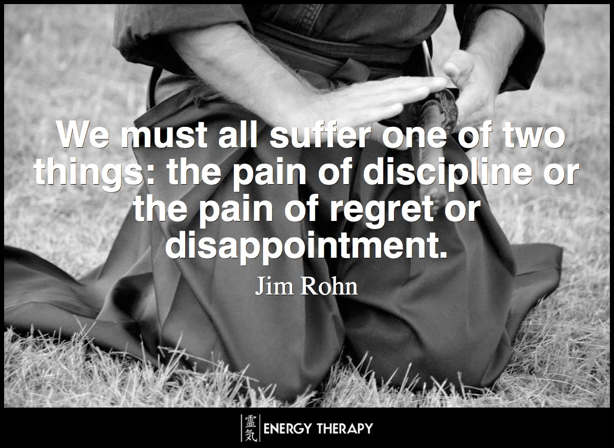 We must all suffer one of two things: the pain of discipline or the pain of regret or disappointment. ~ Jim Rohn