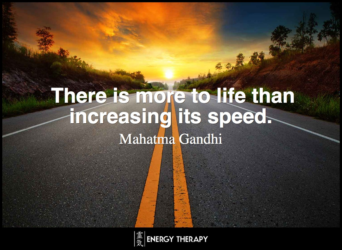 There is more to life than increasing its speed. ~ Mahatma Gandhi