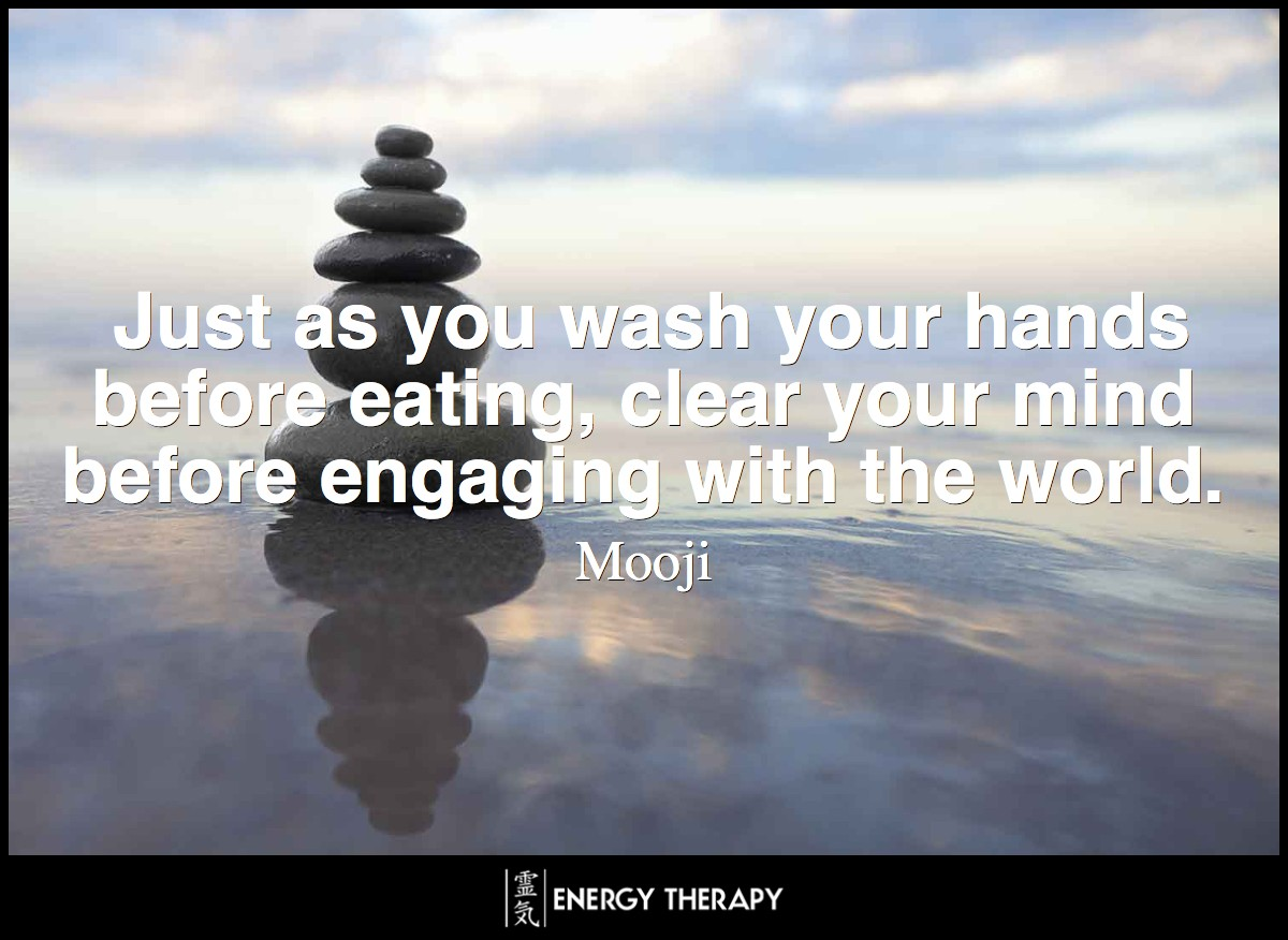 Just as you wash your hands before eating, clear your mind before engaging with the world. ~ Mooji