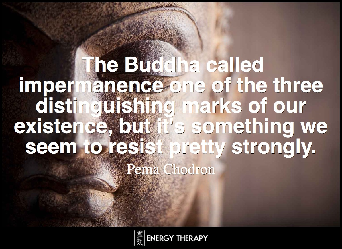 The Buddha called impermanence one of the three distinguishing marks of our existence, an incontrovertible fact of life. But it's something we seem to resist pretty strongly. ~ Pema Chodron