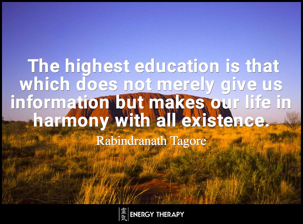 The highest education is that which does not merely give us information but makes our life in harmony with all existence. ~ Rabindranath Tagore