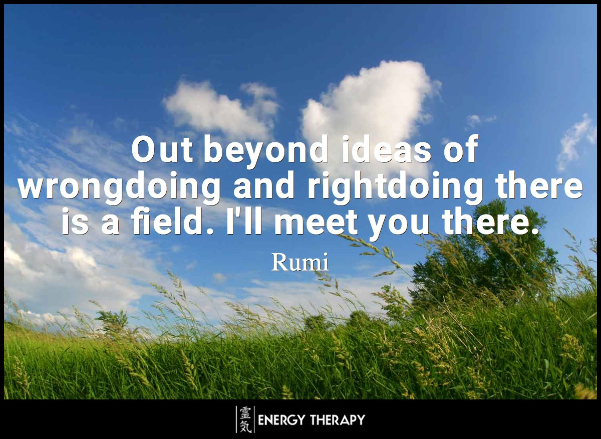 Out beyond ideas of wrongdoing and rightdoing there is a field. I'll meet you there. When the soul lies down in that grass the world is too full to talk about. ~ Rumi