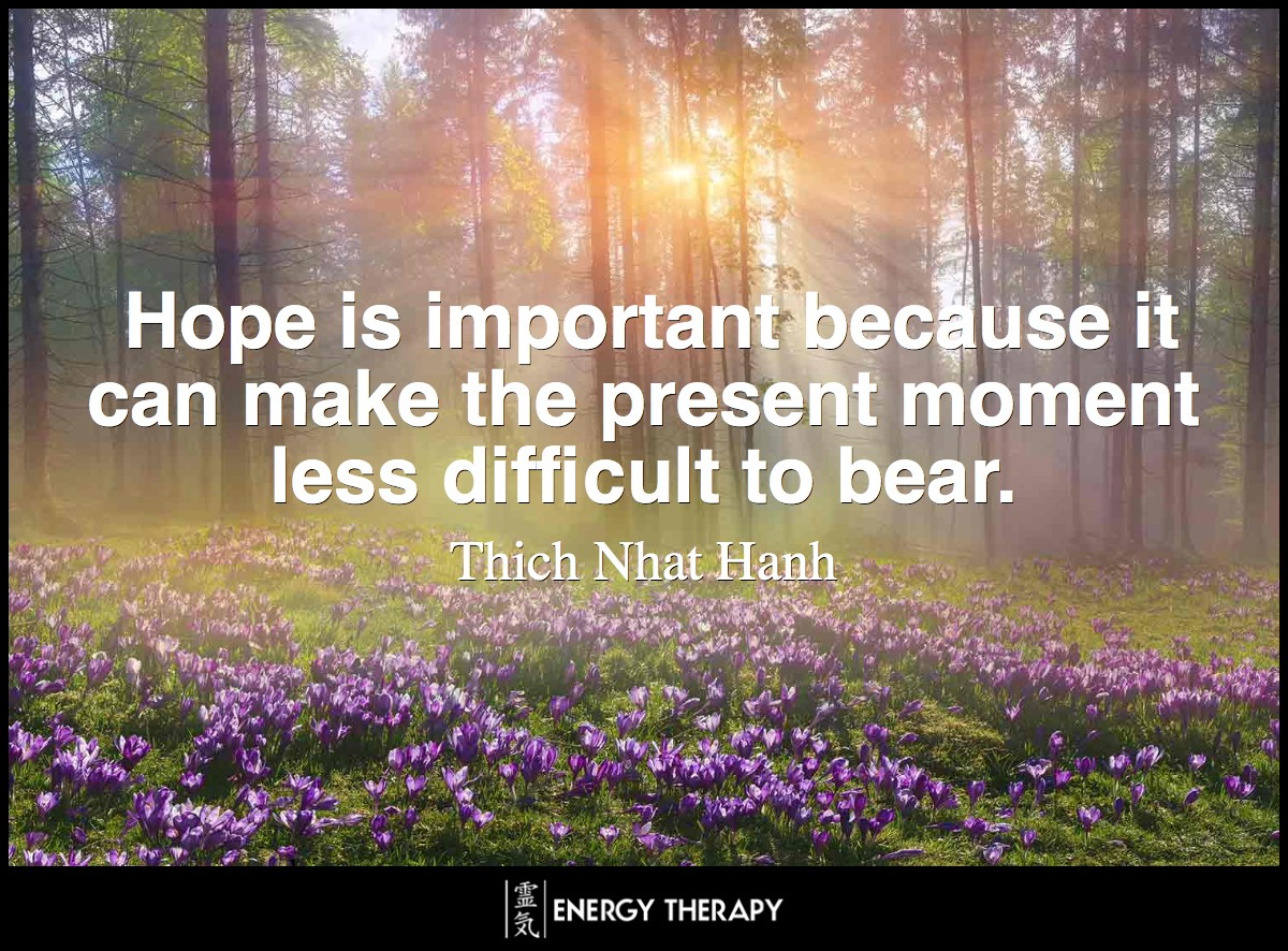 Hope is important because it can make the present moment less difficult to bear. ~ Thich Nhat Hanh