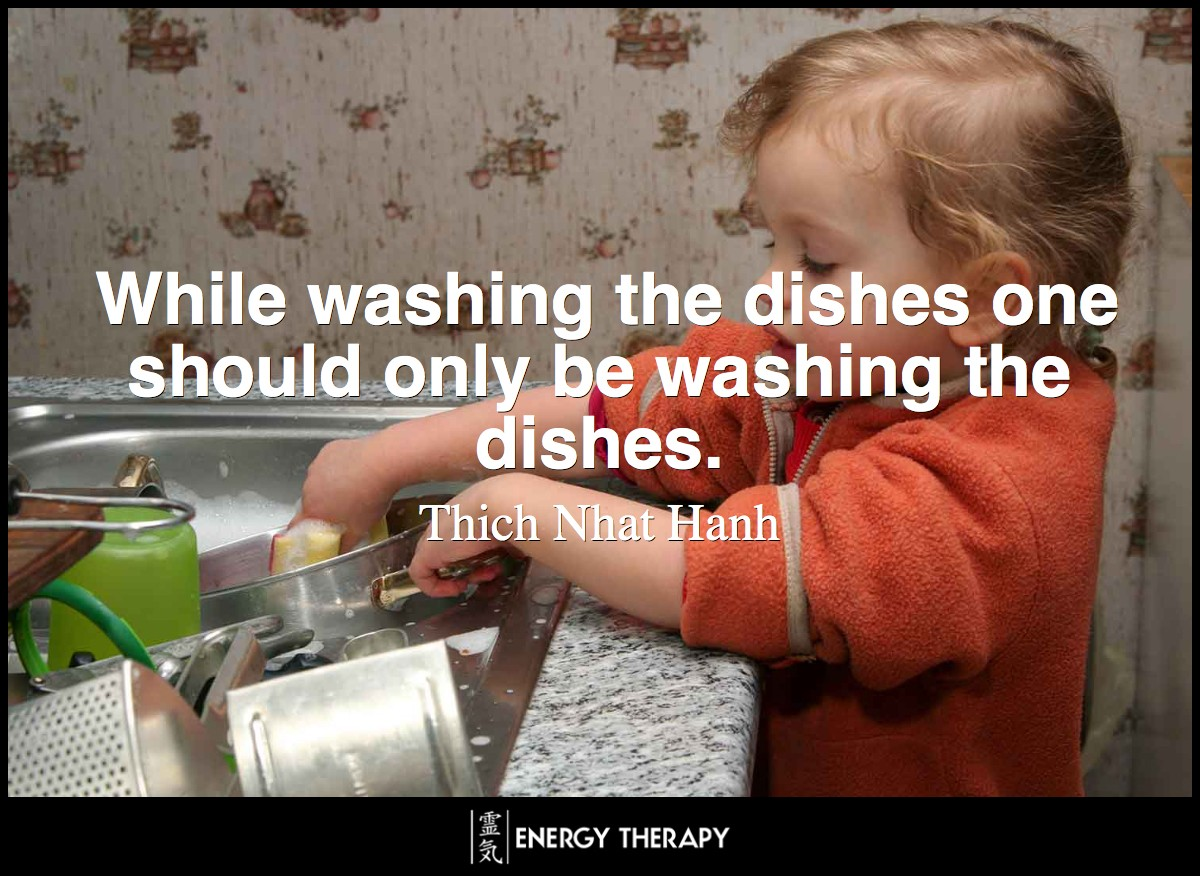 While washing the dishes one should only be washing the dishes, which means that while washing the dishes one should be completely aware of the fact that one is washing the dishes. ~ Thich Nhat Hanh