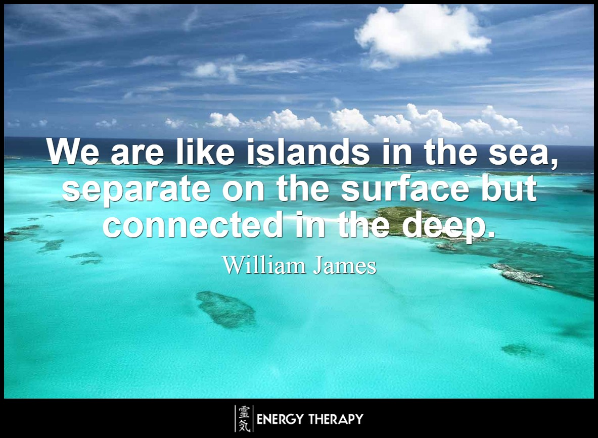 We are like islands in the sea, separate on the surface but connected in the deep. ~ William James
